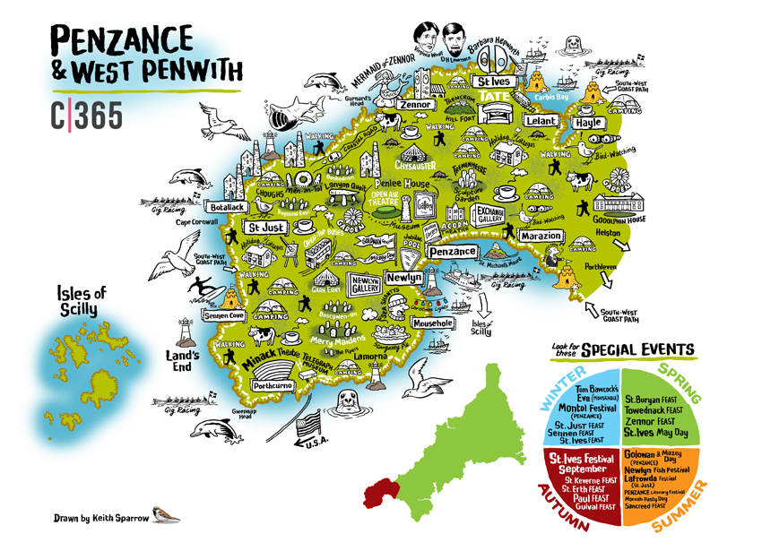 Penzance and West Penwith map Cornwall 365 Keith Sparrow