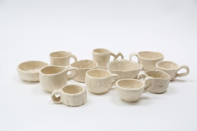 A collection of finished clay cups