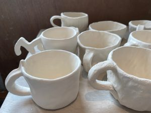 Close up of ceramic cups